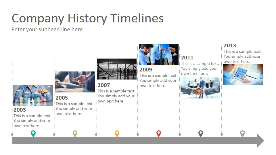 Company history timelines diagrams google slides presentation template slidesalad for Timeline in google slides