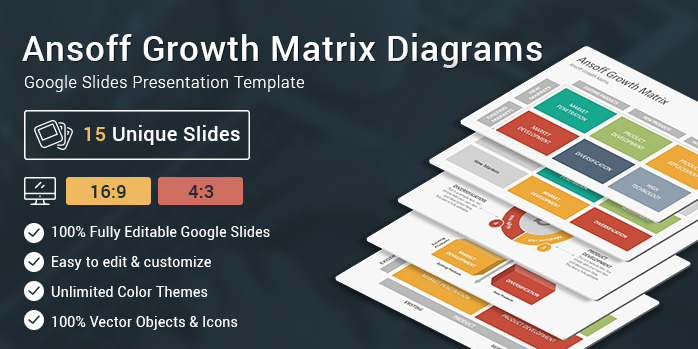 Ansoff Growth Matrix Diagrams Google Slides Presentation Template