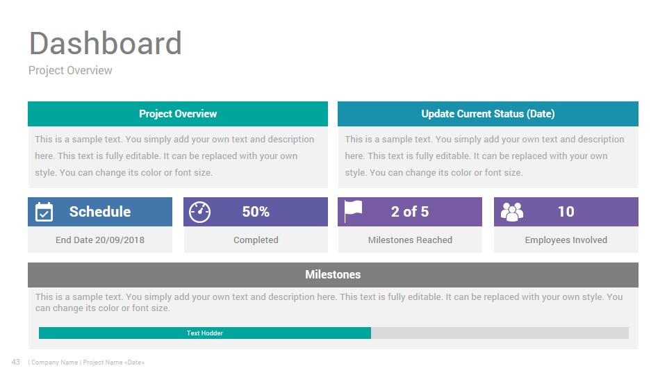 Project Status Report PowerPoint Template Design
