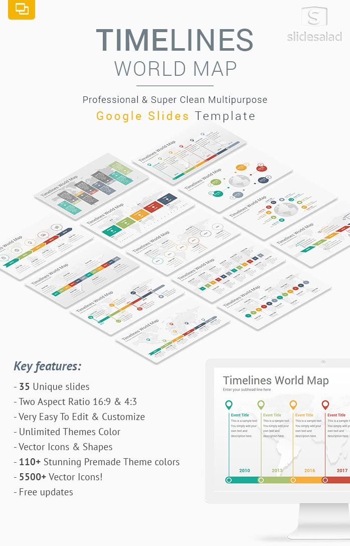 Timelines World Map Diagrams Google Slides Template SlideSalad
