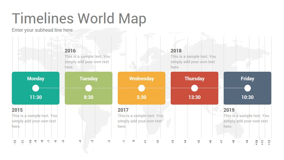 Timelines World Map Diagrams Powerpoint Template Slidesalad