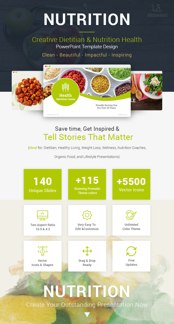 Diet And Nutrition Powerpoint Template Designs Slidesalad