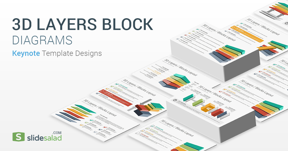 3D Layers Blocks Diagrams Keynote Template - SlideSaladSlideSalad