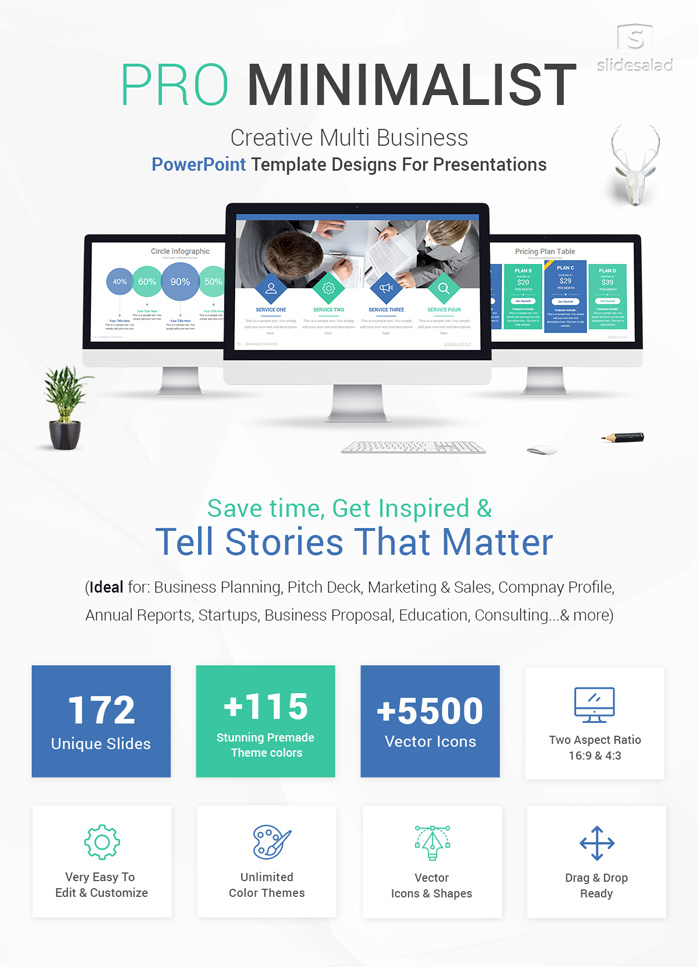 Pro Minimalist Powerpoint Template Designs Slidesalad