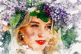 Realistic Watercolor Painting Photoshop Template Mock-Ups
