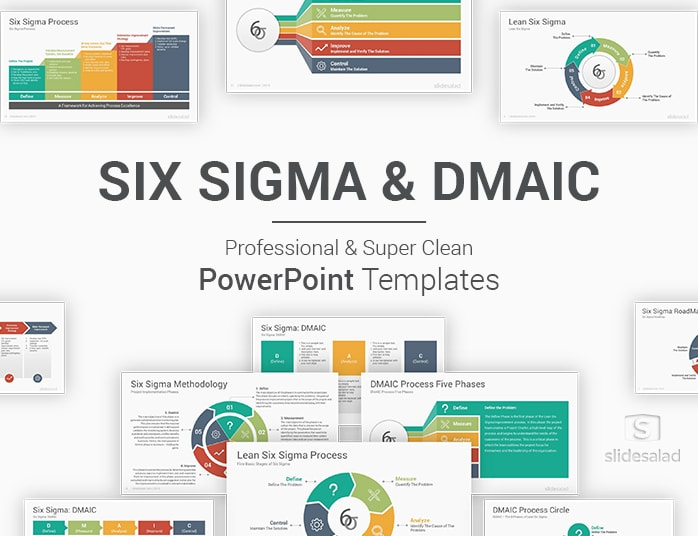 Six Sigma and DMAIC Model PowerPoint Templates Diagrams - SlideSalad