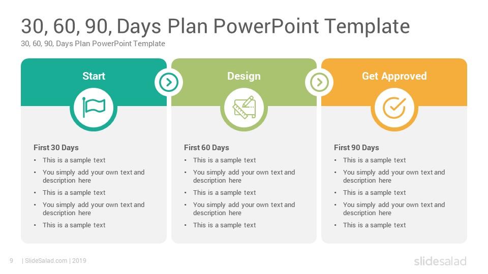30 60 90 days plan powerpoint template slidesalad. Black Bedroom Furniture Sets. Home Design Ideas