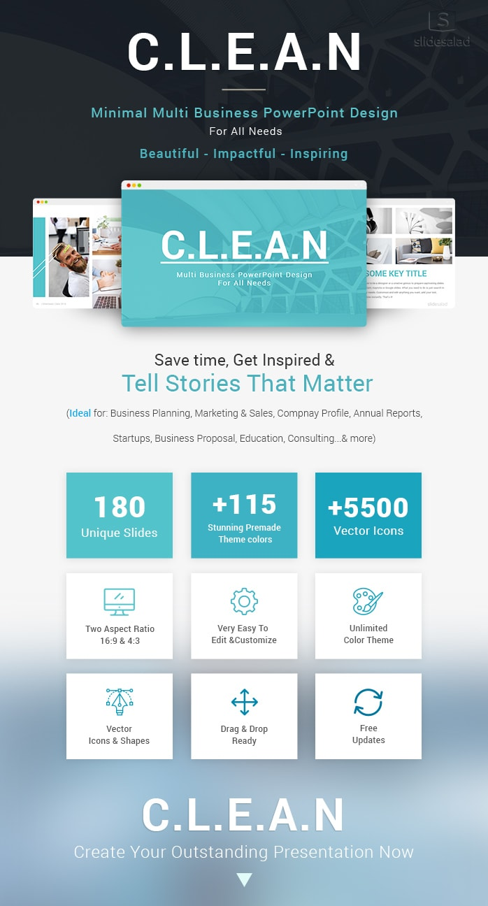 Clean Business Powerpoint Templates Slidesalad