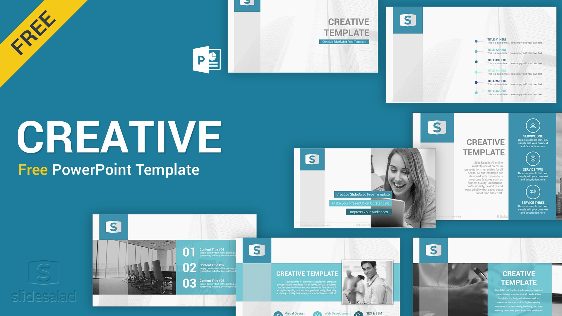 Creative Free Download PowerPoint Template - SlideSalad