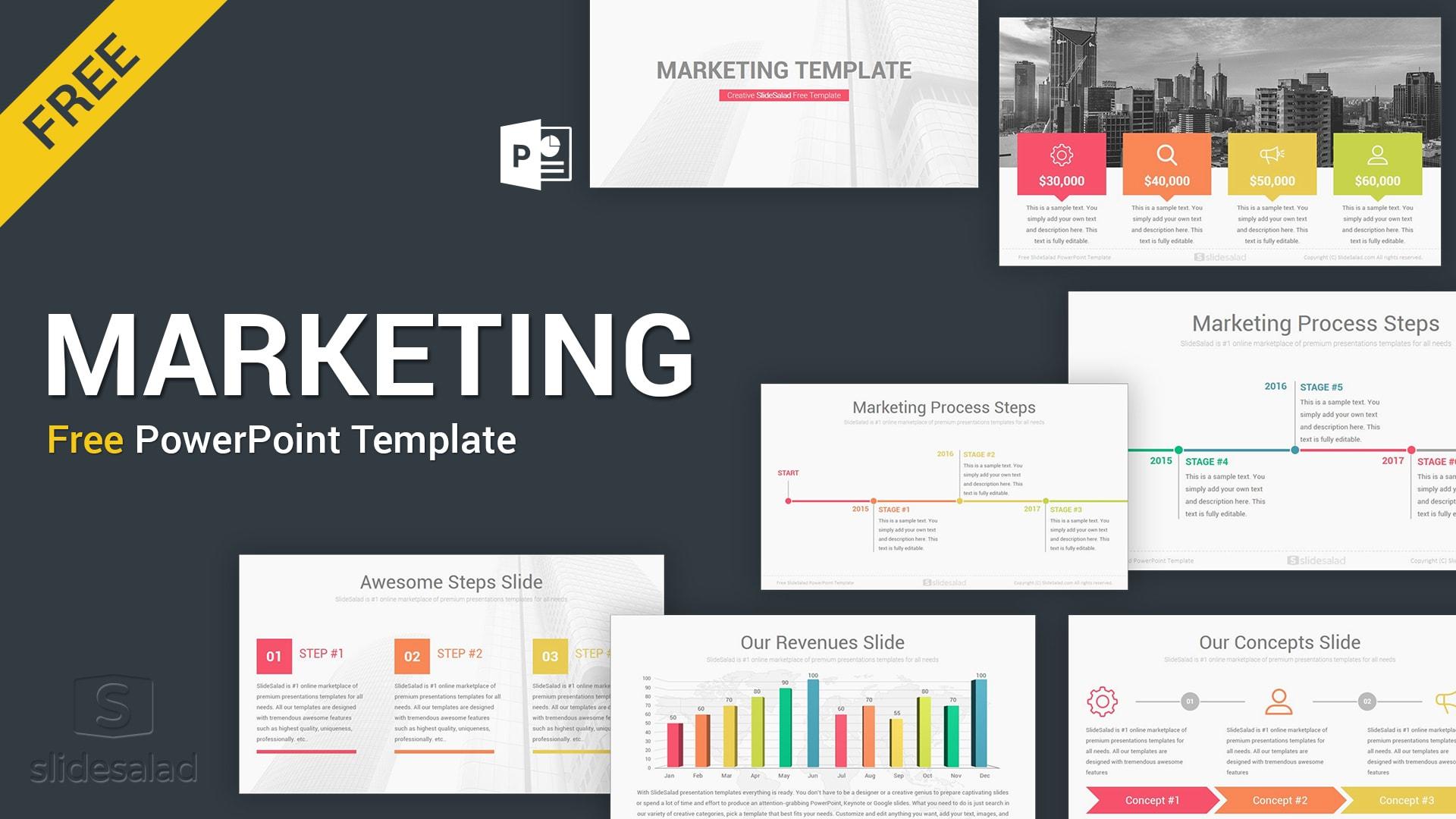Marketing Free Download Powerpoint Template Slides Slidesalad