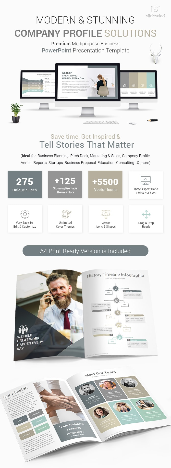 Modern Company Profile PowerPoint Template Designs