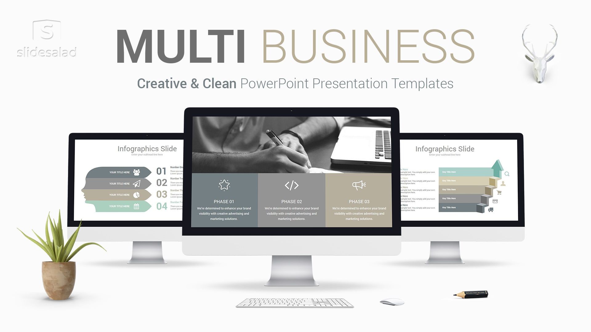 Multi Business PowerPoint Presentation Template - Clean Ready-to-Use PPT Templates Design