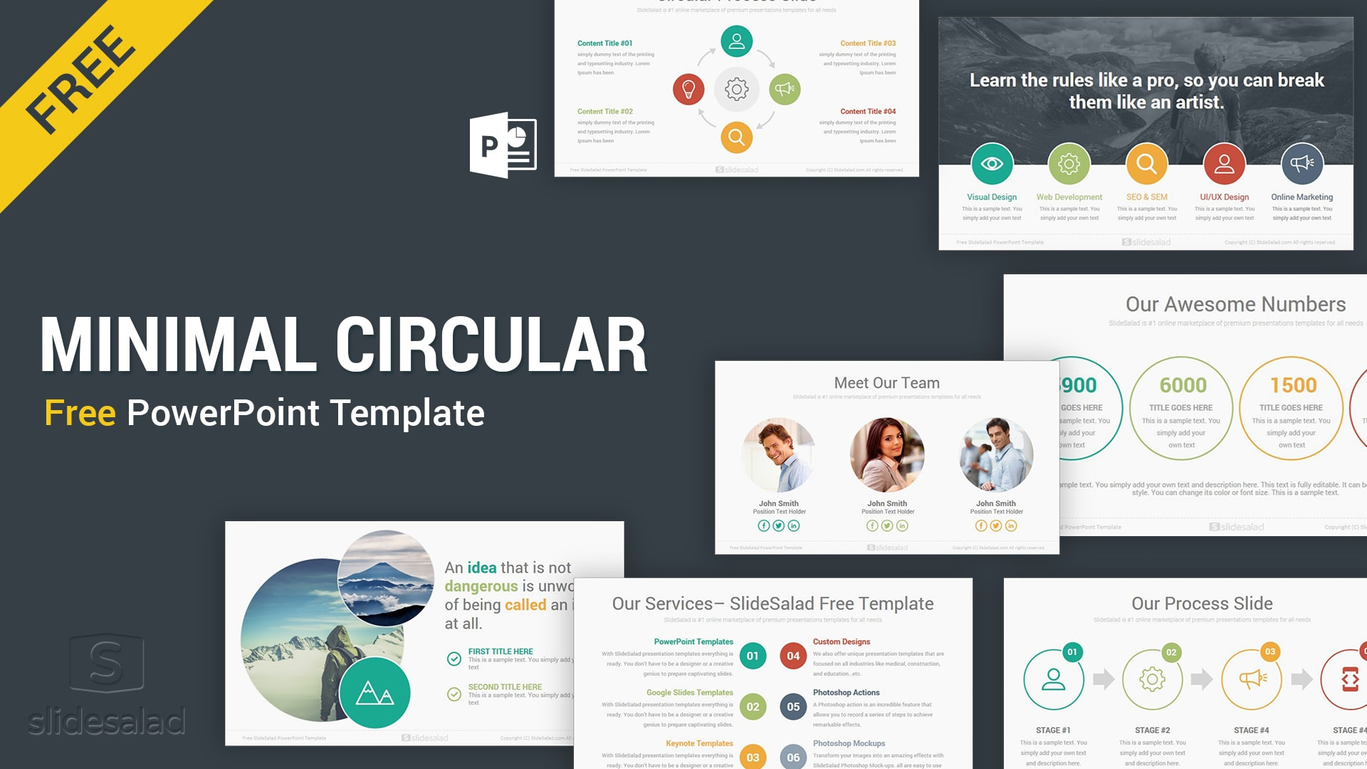 Circular Free Download Minimal Powerpoint Template Ppt