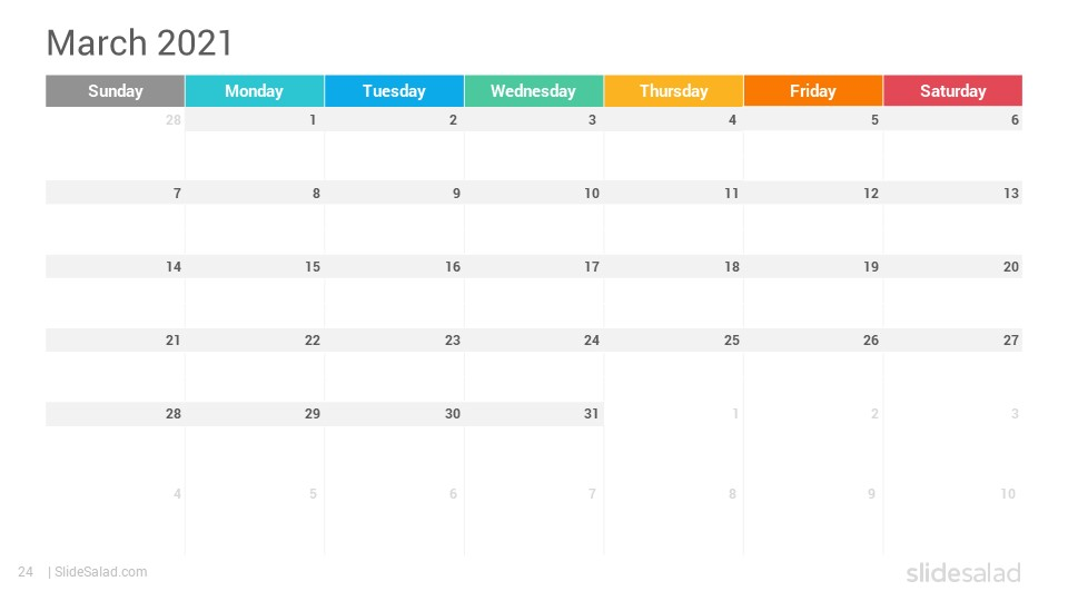 2021 Calendar PowerPoint Template Designs - SlideSalad